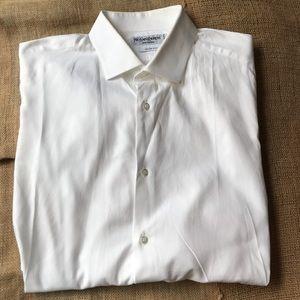 Yves Saint Laurent White Sheer Dress Shirt Slim 16